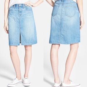 Madewell High Waist Split Front Jean Skirt size 30